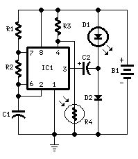 Battery-powered Night Lamp - circuit diagrams, schematics, electronic projects