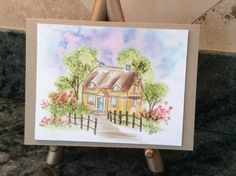 WATERCOLOR SERIES ... Number 6 ... English Cottage (Sku#L3496) Art Impressions wonderful water color handmade card