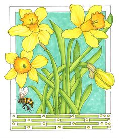 Last week I bought a container of daffodils and found time to create an illustration with my fine black markers. It was great fun to add color to the drawing using my Copic markers. I was actuall…