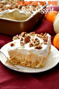 This Pumpkin Pie Lush Dessert is such a fantastic no-bake treat! Layers of pecan shortbread cookies, fluffy pumpkin pudding, creamy whipped topping and crunchy pecans complete this fabulous fall treat. ~ The Domestic Rebel Fall Desserts, No Bake Desserts, Dessert Recipes, Light Desserts, Pumpkin Pie Cheesecake, Pumpkin Pie Spice, Pumpkin Puree, Baked Pumpkin, Pumpkin Recipes