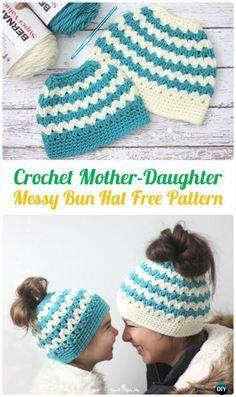CrochetMother-Daughter Cluster V-StitchMessy Bun HatFreePattern -Crochet Ponytail Messy Bun Hat Free Patterns & Instructions