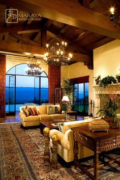 chandelier  Santa Barbara Open Beam Living Room - mediterranean - living room - santa barbara - Maraya Interior Design