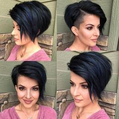 black hair ideas 43 Beautiful Blue Black Hair Color Ideas to Copy ASAP Haircut For Thick Hair, Pixie Haircut, Blue Black Hair Color, Pixie Hairstyles, Colored Curly Hair, Pixies, Short Hair Cuts, Short Black Hair, Funky Short Hair