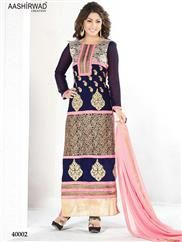40002DarkBlue and Pink Party Wear Embroidered Georgette Long Straight Suit  Top - Georgette with Embroiderd Long Concept Bottom+Inner - Santoon Dupatta - Chiffon Form - Semi stitched For more designs visit http://www.shruticreation.com/Akashara-Classic-Full-Catalog-429/6861