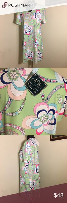 NWT 💗 Melly M Colorful Dress Retro pattern Melly M short sleeve dress. Silky nylon/spandex fabric. Beautiful summer colors: white, pale green, pinks and blues. Wear any color shoe and add a solid cardigan and you're out the door looking your preppy best. 💕 Smoke free. Bundle for additional savings 🛍 melly m Dresses