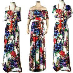 JANETTE Boho Ivory FLORAL Off - On Shoulder Ruffle Top Maxi Dress Ponte Knit S-L #Janette #Maxi #SummerBeach