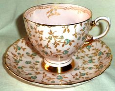 Tuscan Cup & Saucer Chintz Blue Flowers Gold Leaf on Pink Made in England