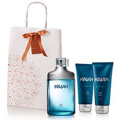 Presente Natura Kaiak - Desodorante Colônia Masculino 100ml + Gel para Barbear 75g + Balm Após Barba 75ml + Embalagem   Rede Natura