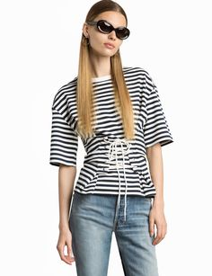 Muse Striped Jersey Corset Tee