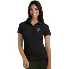 Women's Antigua Brooklyn Nets Pique Xtra-Lite Polo, Size: Medium, Black