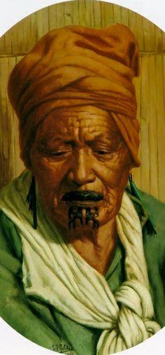 ☆ Te Aotiti Tumai :¦: Artist Charles Goldie ☆ Polynesian People, Polynesian Art, Maori Face Tattoo, Maori Words, Maori People, New Zealand Art, Maori Art, Warrior Queen, Kiwiana