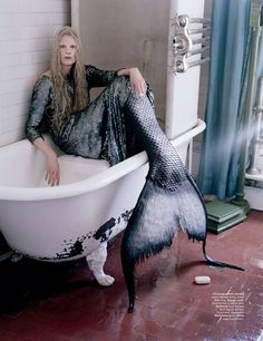 Tim Walker -  The Little Mermaid  }  sea punk  } mermaids } Model - Kristen McMenamy } bloodshot eyes, scales and sequins