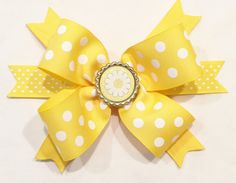 Yellow Hair Bow Spike Hair Bow by LittleAsAccessories on Etsy