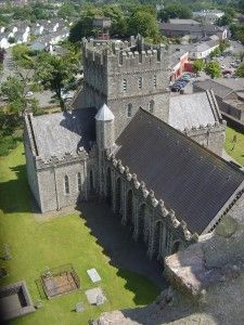 The view from the top. Kildare Cathedral (center), St. Bridget's Fire House (lower left), and Kildare town center (top right) as seen from t...