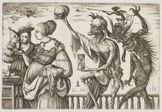 Daniel Hopfer, Death and the Devil Surprising Two Women, circa 1500-10 (Click on all images to see larger version)