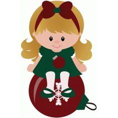 Silhouette Design Store: elf girl sitting on christmas ornament