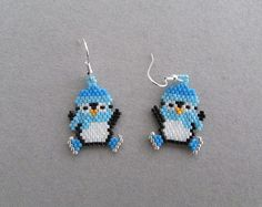 Beaded Ice Skating Penguin Earrings by DsBeadedCrochetedEtc Seed Bead Jewelry, Seed Bead Earrings, Beaded Earrings, Etsy Earrings, Beaded Jewelry, Angel Earrings, Diy Jewelry, Jewellery, Jewelry Patterns