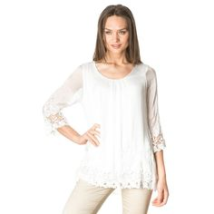 LAURA MORETTI White Embroidery Silk Blouse (Made in Italy)