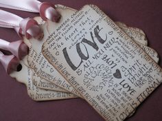 Valentine Love Tags  Vintage Appearance  set of 5 by anistadesigns, $6.50 #valentines day   #love