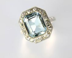 Art Deco Aquamarine glass Uncas Ring silver filled, antique jewelry