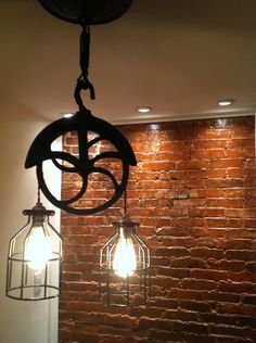 Repurposed farm wellwheel industrial light by WestNinthVintage, $154.00