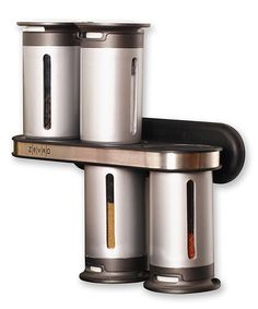 Compact, convenient and modern, this sleek magnetic stand holds six slim canisters to keep favorite spices at the ready. Airtight lids preserve freshness while clear viewing windows ensure there's enough thyme to perfectly make Grandma's famous pot roast.See how it works