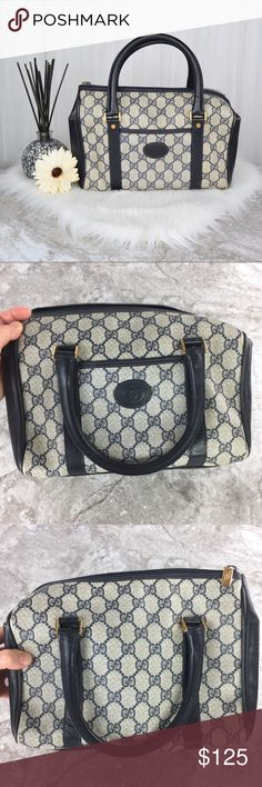 """GUCCI Vintage Monogrammed Doctor/ Boston Bag Vintage GUCCI doctor/ boston/ speedy/ duffle hand bag. 100% AUTHENTIC. In very good vintage condition. Shows some signs of wear on outer edges, scratch on handle, small brown mark near center Gucci logo on front outer pocket,  scratches on gold hardware, interior shoes signs of wear, one inner pocket, two zip compartments, serial number: 000-58-0140. Approx. measurements: Length-10"""", Height-8"""", Width-4.5"""", Strap-5"""". Please ask if you'd like…"""