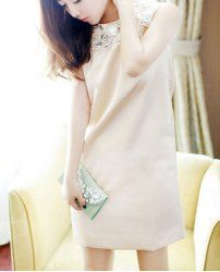$15.94 Casual Rhinestone Embellished Solid Color Zipper Splicing Sleeveless Ladylike Dress For Women