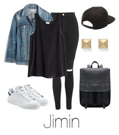 """""""Airport Fashion: Jimin"""" by btsoutfits ❤ liked on Polyvore featuring Topshop, Madewell, H&M, adidas Originals, Vans and Palm Beach Jewelry"""