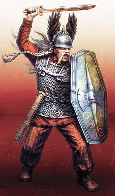 """Guerrero galo, Alesia 52 aC"" Plus Guerrero Tribal, Guerrero Tattoo, Military Art, Military History, Ancient Rome, Ancient History, Les Runes, Tribal Warrior, Celtic Warriors"