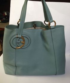 Gucci AUTHENTIC NWT Large Baby Blue Leather Open Tote #Gucci #TotesShoppers