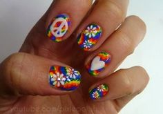 Flower Child Nail Art by ~PixieAmor on deviantART Hippie Nail Art, Hippie Nails, Fingernail Designs, Nail Polish Designs, Nail Art Designs, Peace Sign Nails, Tie Dye Nails, Chic Nails, Rainbow Nails