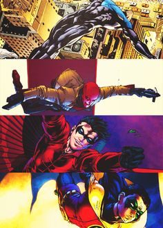 The Robins - Dick Grayson, Jason Todd, Tim Drake and Damian Wayne