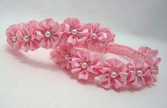 Pink Princess Crown Wreath Braided Headband by PrettyToppings Ribbon Art, Ribbon Hair Bows, Diy Hair Bows, Ribbon Crafts, Satin Flowers, Felt Flowers, Diy Flowers, Fabric Flowers, Flower Girl Crown