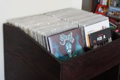 Record storage shelf with vinyl records