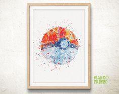 Pocket Monster Pokemon Poke Ball Watercolor Poster Print - Watercolor Painting - Home Decor - Wall Art - Artwork - Nursery Decor - 71