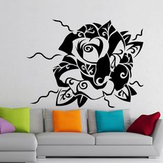 Wall Decals Floral Pattern With Flowers Home Vinyl Decal Sticker Wall ...