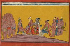 Rama embraces sugriva on hearing the mighty deeds of the gathered monkeys, India, 1700-1710