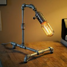Medium Galvanized Steel Pipe Steampunk Desk Lamp by loglow on Etsy, $120.00