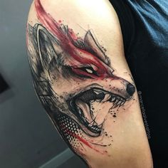 Guy with watercolor wolf arm gamer tattoos Wolf Tattoos, Gamer Tattoos, Badass Tattoos, Animal Tattoos, Body Art Tattoos, Tattoos For Guys, Tatoos, Tattoo For Man, Maori Tattoos