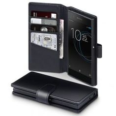 Sony Xperia XA1 Genuine Leather Wallet - Black