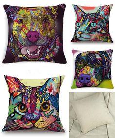 [Visit to Buy] French Bulldog Pug Dog Cushion Bull Terrier Colorful Cat Scandinavian Pillow Cushion Cotton Linen Nordic Euro Pillow Decorative #Advertisement