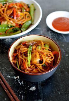 This vegetable lo mein isn't so much a takeout dish makeover so much as just a really simple, versatile noodle dish that can be a staple vegetarian meal or a go-to meatless Monday dinner. It's healthy, tasty, and very easy to make. In China, fresh eggless hand-pulled noodles are readily available (understatement), so that's what we used, but you can feel free to use packaged fresh white noodles or the lo mein egg noodles from the Asian grocery store. You can even sub in dried spaghetti if yo...
