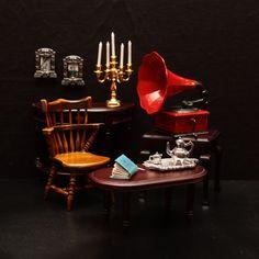 Miniature. Handmade book. Phonograph. Chair. Table. Tea set. 1/12 scale. Dollhouse.