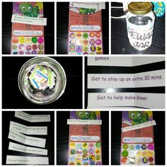 Reward System for academics outside of school...I came up with this idea for the kiddos...the charts and most of the stickers came as a pack at the dollar store (20 sheets) and once they do 15mins of academics they get to add a sticker to their chart. This could be workbooks, reading (normal bedtime or school work does not count), flashcards, for the pre schooler- motor skills (lacing cards, stringing beads, etc.) counting objects, ABC practice, etc. Once the chart is full they pick a reward slip from the jar (with eyes closed). For my sake they are color coordinated by type- $ involved, around town, family time, fun around the house, and privileges. So far they've loved the ones they've pulled. Although we do many of these things regularly, they enjoy it so much to do it on their day of choice makes it all that much better.