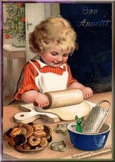 *CHRISTMAS PAST ~ Victorian Christmas Cookies.This reminds me of myself.We were 5 children, I being the eldest. I love baking for my bothers and sisters. Christmas Scenes, Christmas Art, Christmas Greetings, Christmas Cookies, Holiday Cards, Christmas Baking, Holiday Baking, Christmas Canvas, Holiday Decor