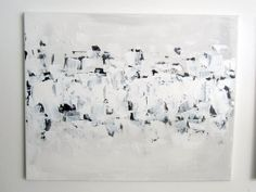 "No. 20 - Modern Abstract Painting 16"" x 20"" on regular 3/4"" depth canvas - (White, grey and black)"