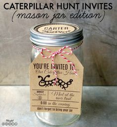 Mason Jar Caterpillar Hunting Invitations {Printable} from @blissfulroots #invitations #jars #masonjar