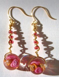 Pink and gold earrings by SunsetCrafts on Etsy