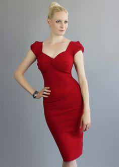 Saint Bustier Nigella Dress in lipstick red